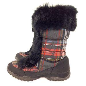 Coach Jennie Boots Winter Snow Shoes Red Plaid 6